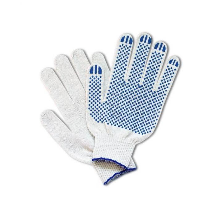 Качественные перчатки х/б с ПВХ 10 класс белые (5 нитей)