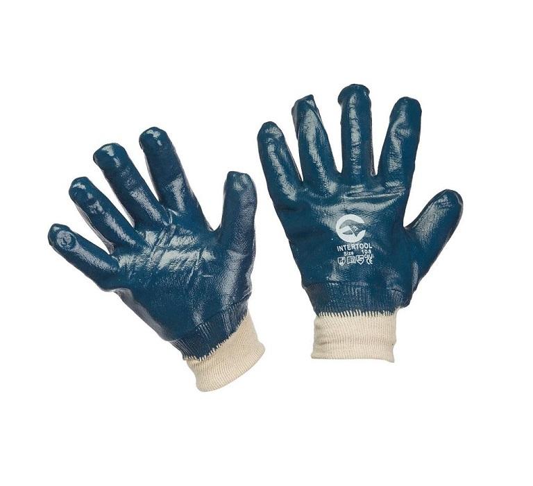 Перчатки х/б синие покрытые нитрилом (манжет резинка)